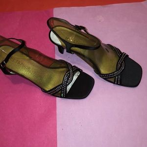 Metaphor black fabric shoes with rhinestones